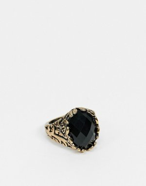 Кольцо с черным камнем -Серебряный SVNX