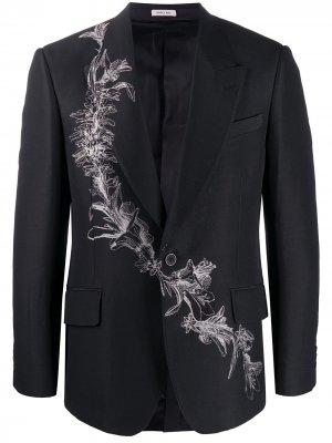 Однобортный пиджак с принтом Alexander McQueen. Цвет: черный