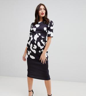 Платье миди с леопардовым принтом True Violet Maternity. Цвет: мульти