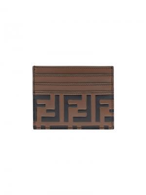 Визитница с логотипом FF Fendi. Цвет: коричневый