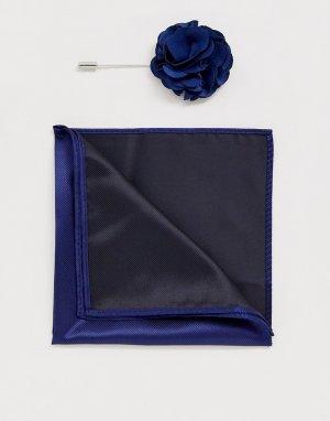 Булавка на лацкан пиджака с цветком и платок-паше -Темно-синий Gianni Feraud