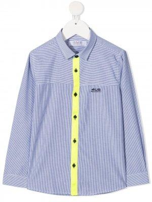 Полосатая рубашка на пуговицах Cesare Paciotti 4Us Kids. Цвет: синий