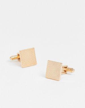 Золотистые текстурные запонки -Золотистый ASOS DESIGN
