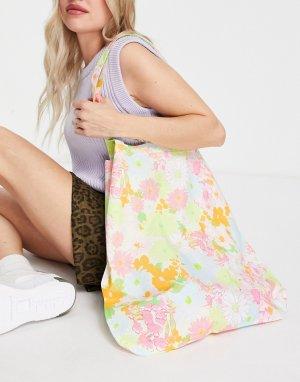 Большая сумка-шопер из органического хлопка с ярким цветочным принтом -Многоцветный ASOS DESIGN