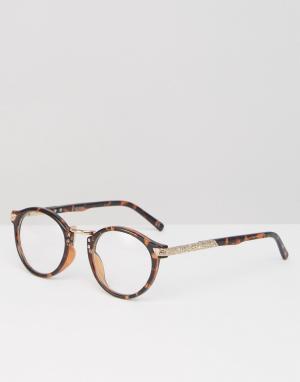 Модные очки в круглой черепаховой оправе с прозрачными стеклами -Коричневый цвет ASOS DESIGN