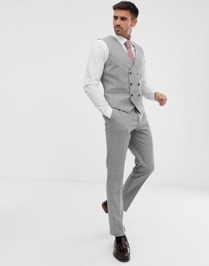 Серый приталенный жилет -Бежевый Burton Menswear