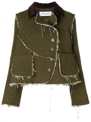 Пиджак в стилистике пэчворк с необработанными краями Carven. Цвет: зеленый