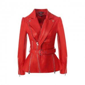 Кожаная куртка с косой молнией Alexander McQueen. Цвет: красный