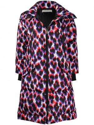 Пальто-пуховик с леопардовым принтом Golden Goose. Цвет: черный