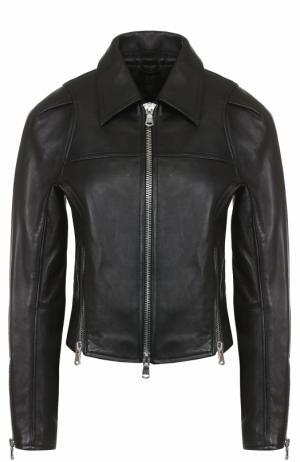 Кожаная куртка на молнии с отложным воротником 3.1 Phillip Lim. Цвет: черный