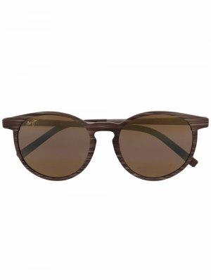 Солнцезащитные очки в круглой оправе Maui Jim. Цвет: коричневый