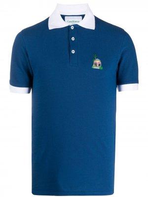 Рубашка-поло с контрастным воротником Casablanca. Цвет: синий