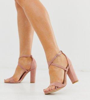 Босоножки на каблуке для широкой стопы Glamorous-Розовый Glamorous Wide Fit