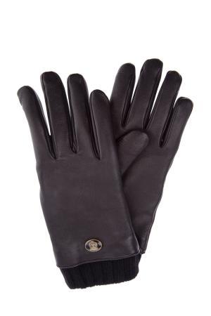 Перчатки из телячьей кожи с вязаными манжетами GUCCI. Цвет: none