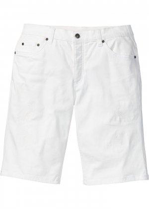 Бермуды джинсовые bonprix. Цвет: белый