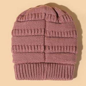 Шапка-бини вязаный SHEIN. Цвет: розовые