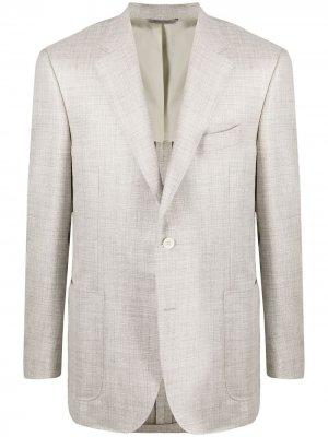 Однобортный пиджак строгого кроя Canali. Цвет: нейтральные цвета
