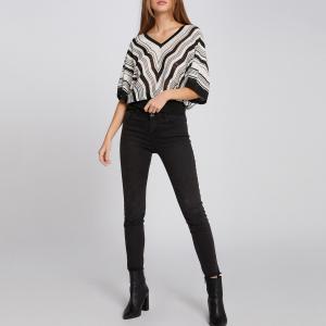 Пуловер свободного покроя из тонкого трикотажа MORGAN. Цвет: белый/ черный