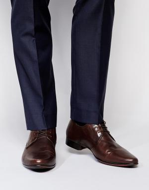 Коричневые кожаные туфли дерби ASOS DESIGN. Цвет: коричневый