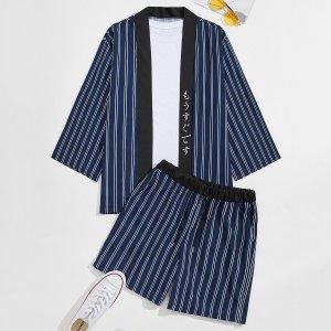 Мужские кимоно в полоску и шорты на кулиске SHEIN. Цвет: темно-синий