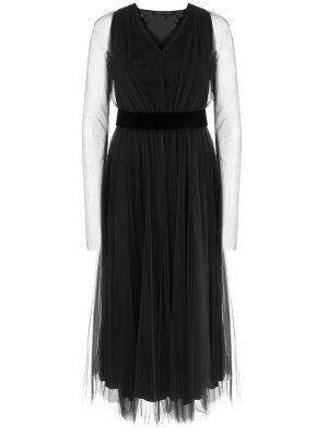 Платье-миди из тюля TEREKHOV. Цвет: черный