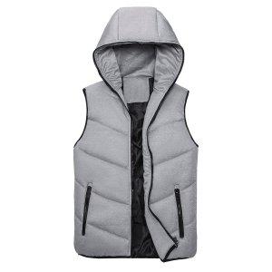 Мужской Жилет-куртка на молнии с капюшоном SHEIN. Цвет: серый