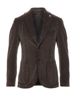 Пиджак LUIGI BIANCHI ROUGH. Цвет: темно-коричневый
