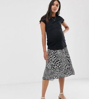 Плиссированная юбка миди с анималистичным принтом и посадкой под животом ASOS DESIGN Maternity-Мульти Maternity