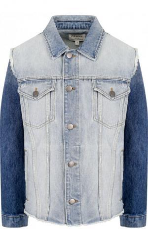 Джинсовая куртка с потертостями Frame Denim. Цвет: голубой