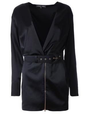 Шелковое мини-платье TEREKHOV. Цвет: черный