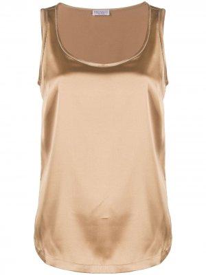 Блузка без рукавов с U-образным вырезом Brunello Cucinelli. Цвет: коричневый