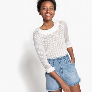 Пуловер с вырезом-лодочкой воланами из ажурного трикотажа LA REDOUTE COLLECTIONS. Цвет: розовая пудра,сиреневый,слоновая кость