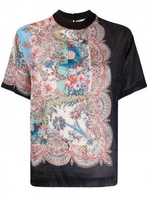 Блузка с короткими рукавами и принтом Liberty London. Цвет: черный