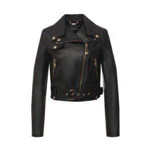 Кожаная куртка Versace. Цвет: чёрный
