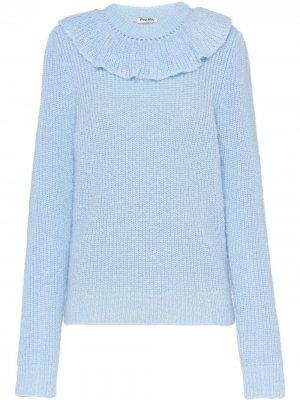 Трикотажный свитер с оборками Miu. Цвет: синий