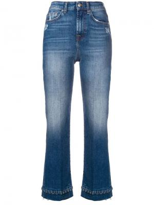 Beaded hem cropped jeans 7 For All Mankind. Цвет: синий