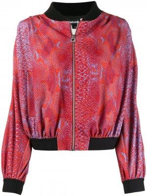 Куртка-бомбер со змеиным принтом Just Cavalli. Цвет: оранжевый