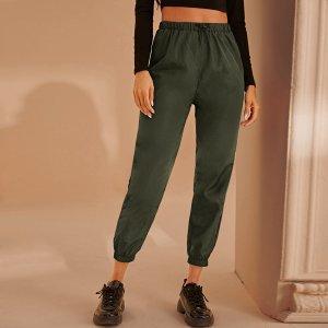 Короткие брюки-ветровка на кулиске SHEIN. Цвет: армейский зеленый