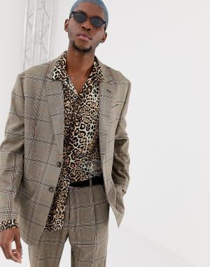 Коричневый oversize-пиджак в крупную клетку COLLUSION. Цвет: коричневый