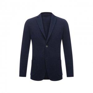 Пиджак изо льна и хлопка Gran Sasso. Цвет: синий