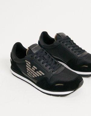 Черные кроссовки для бега с логотипом -Черный Emporio Armani