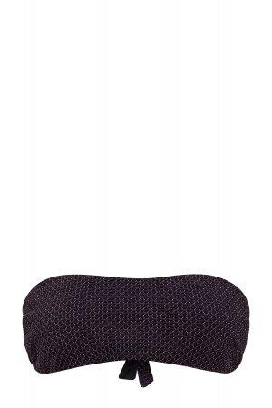 Лиф-бандо из эластичного материала с плетеным узором и серебристой прострочкой FISICO. Цвет: черный