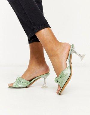 Зеленые мюли на каблуке с эффектом металлик -Зеленый Topshop
