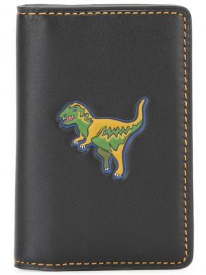 Визитница с принтом динозавра Coach. Цвет: чёрный