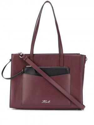 Большая сумка-тоут K/Pocket Karl Lagerfeld. Цвет: красный