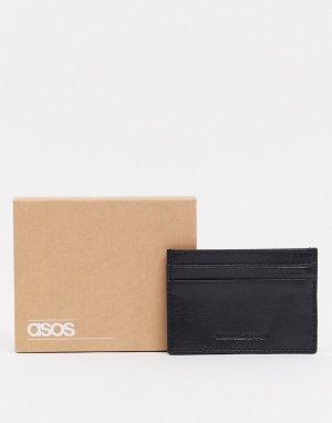 Черная кожаная кредитница с тиснением -Черный цвет ASOS DESIGN