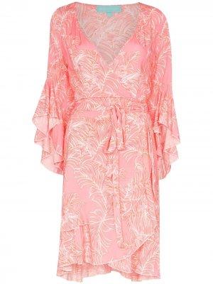 Платье Kirsty с оборками и принтом Melissa Odabash. Цвет: оранжевый