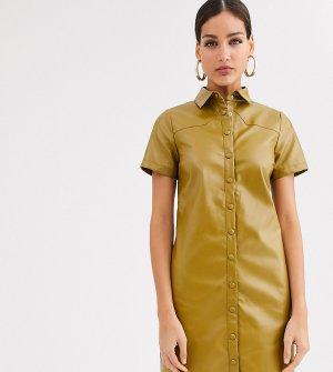 Платье-рубашка из искусственной кожи -Зеленый Glamorous Tall