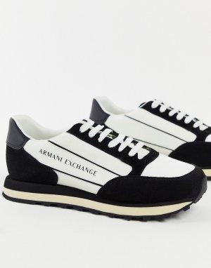 Черно-белые кроссовки с логотипом на контрастной вставке-Черный цвет Armani Exchange