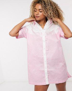Платье-рубашка в стиле вестерн с бахромой и вышивкой -Розовый цвет Lazy Oaf